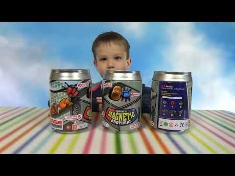 Жуки Феромагнитные в металлических банках распаковка игрушек Magnetic brothers crawling toy