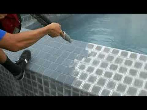 Pool tile cleaning bead blasting calcium removal