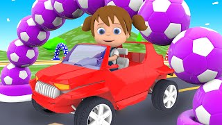Little Baby Fun Ride Toy Racing Car on Race Track - Learn Colors for Children with Rainbow Tires...