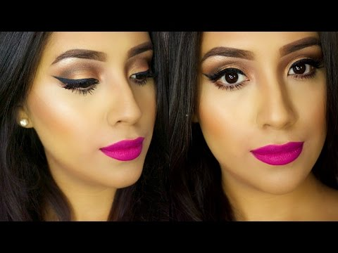 EASY Spring Makeup Tutorial 2015| BOLD PINK LIPS + Simple Bronze Eyes