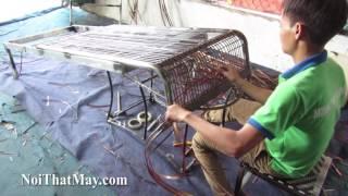 Hướng dẫn cách đan GHẾ HỒ BƠI 430 nhựa giả mây tại xưởng đan mẫu nội thất Minh Thy