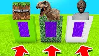 Minecraft PE : DO NOT CHOOSE THE WRONG PORTAL! (Minecraft, Tyrannosaurus & Granny)