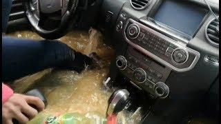 Как утопить Land Rover Discovery 4...Баба за рулём. Lexus LX 470 off-road. Car Sinking in water.Брод