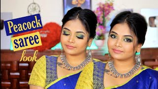 Modern Saree Makeup Look | Peacock green and blue eyelook with glossy lips