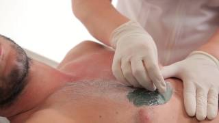 "Man depilation with HOT FILM WAX ""Italwax"""