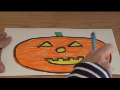 How to Draw a Halloween Jack-o-lantern - KIDS Learn the SHAPES