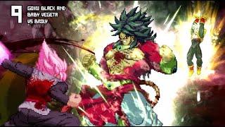 [What-If] Super Saiyan 4 Broly VS Baby Vegeta and Goku Black.