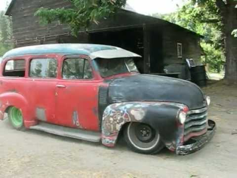 53 chevy Suburban rat rod hot rod - YouTube
