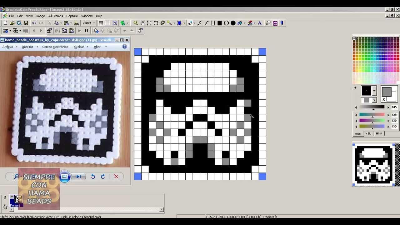 C mo crear patrones para hama beads youtube - Hama beads cuadros ...