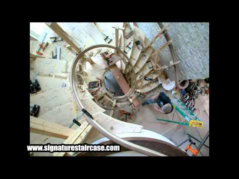 "Timelapse of installation and assembly of a recent exclusive tri-level custom staircase project. 2010 Custom carriage stringer, ""floating tread"" design with ..."
