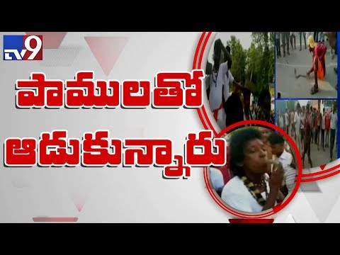 Snake festival in Ranchi, Man swallows snake || పాములతో చెలగాటం - TV9