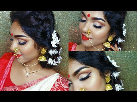 Traditional Durga Puja Makeup Tutorial 1 || Ashtomi Look
