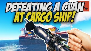 DEFEATING CLAN PLAYERS at the CARGO SHIP! - Rust Solo Survival Gameplay
