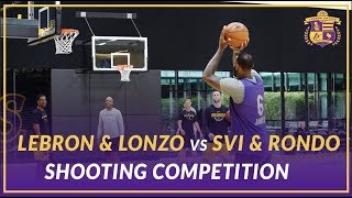 Lakers Practice:  LeBron & Lonzo vs Svi & Rondo vs Coach Miles & BShaw Shooting Competition