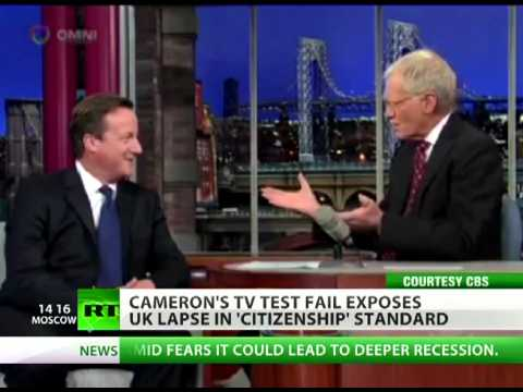 Citizen Caned  Cameron Flunks Uk 'citizenship Test' On Us Tv Show