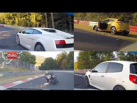 Big Megane Crash - sparkling Biker - almost Lambo Crash...crazy lap - Nürburgring Nordschleife