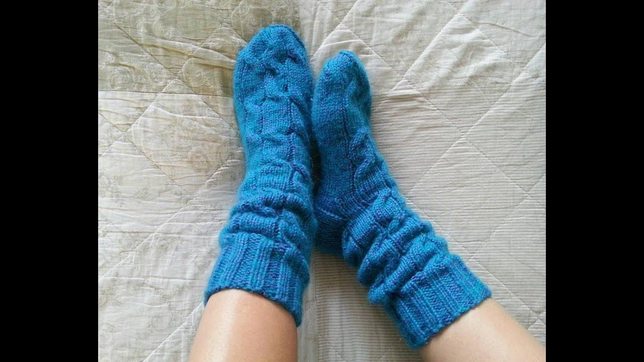 Вязание носок с косами 221