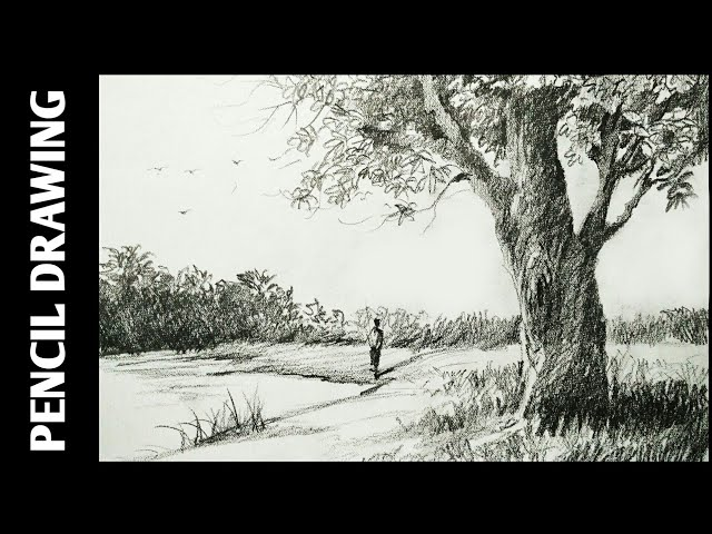 Landscape drawing for beginners with pencil sketching and shading - Simple pencil drawing