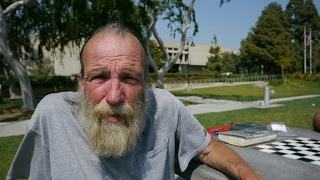Video: Dennis, Glendale, disabled, divorced at 60 years, spent savings, sleeping homeless on church patio - Invisible People