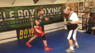 Catching punches with a belly pad