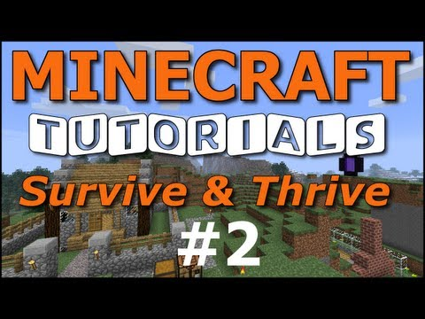 Minecraft Tutorials - E02 Mining and Smelting Iron (Survive and Thrive II)