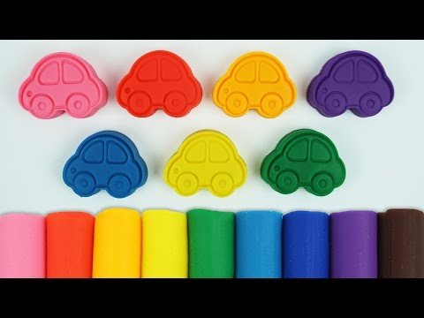 Play and Learn Colours with Play Doh Modelling Clay with Cars Cookie Cutters