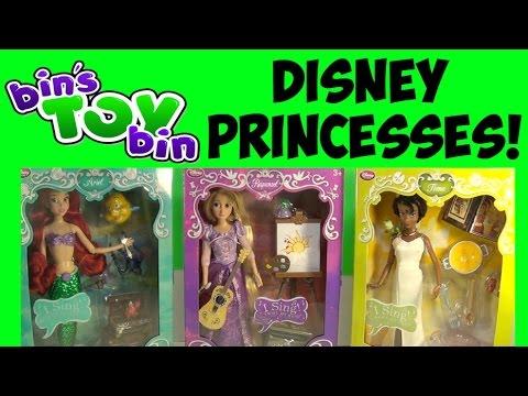 Disney Store Deluxe Singing Princess Dolls Ariel. Tiana. & Rapunzel! Review by Bin's Toy Bin