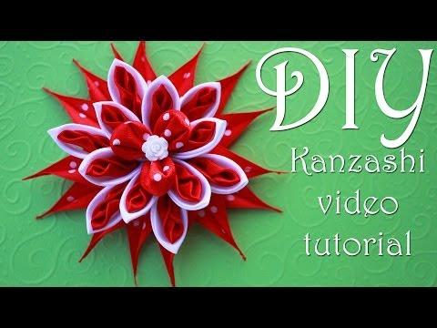 Красный Цветок Канзаши в Горошек / DIY Kanzashi /  Christmas flowers