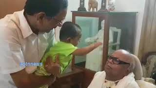 KARUNANIDHI PLAYING WITH GRAND SON LATEST VIDEO|DMK CHIEF KARUNANIDHI|LATEST VIDEO