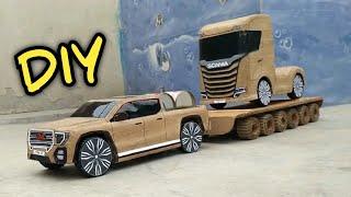 DIY Cardboard RC Car GMC Pickup Truck With Trailer | Diy RC cardboard toy