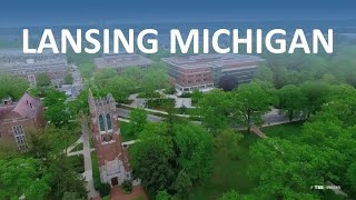 Lansing Michigan from the Air - Aerial Drone Film Reel