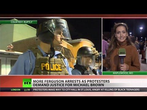 Police shut down protests in Ferguson