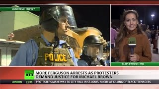 Police shut down protests in (Ferguson)   10/14/14