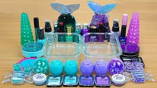 MINT vs PURPLE SLIME Mixing makeup and glitter into Clear Slime Satisfying Slime Videos
