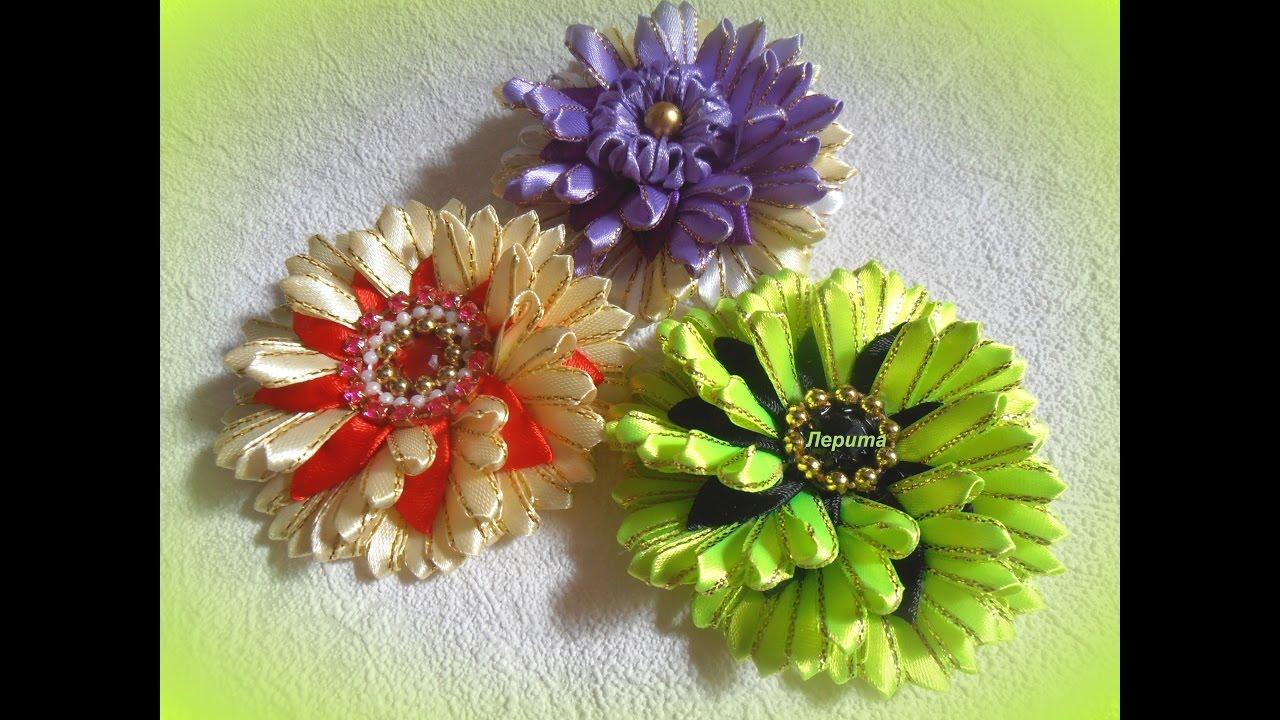 Цветы канзаши из узкой ленты 0,6 см, мастер класс - YouTube