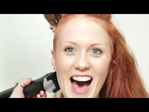 long haired and beautiful redhead gets a pixie cut