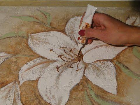 Видео как нарисовать цветок на стене