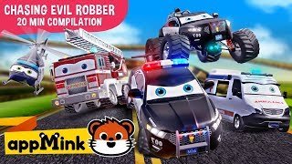 #appMink kids cartoon – Police Car, Fire Truck & Garbage Truck Chasing Evil Bus