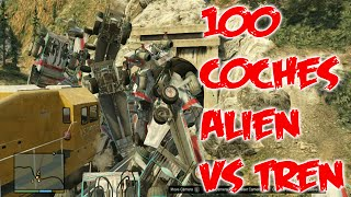 GTA 5 | 50 coches alien vs tren | 50 car alien vs train | Reto #3 en GTA V