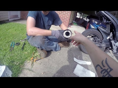 HOW TO quiet a motorcycle exhaust!   Muffler Packing!