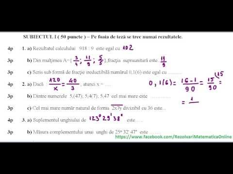 Clasa a VI-a - Teza matematica Semestrul I - model 1 - partea I