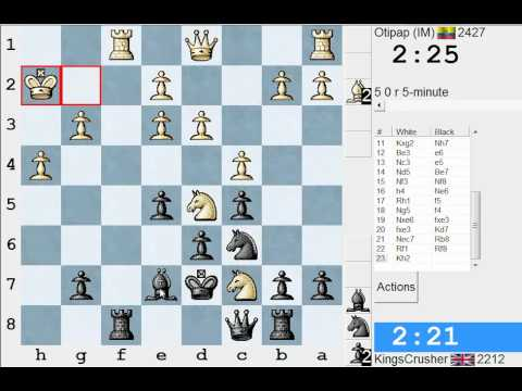 Chess World.net: LIVE Blitz #1401 vs Otipap (IM) 2427 - English, 1...Nf6 (Anglo-Indian) (A15)