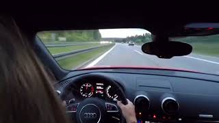 Girl Driving Audi RS3 2017 Acceleration Autobahn 70-250 km/h