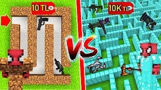 10 TL FAKİR SİLAHLI LABİRENTİ VS 10.000 TL ZENGİN LABİRENTİ - Minecraft