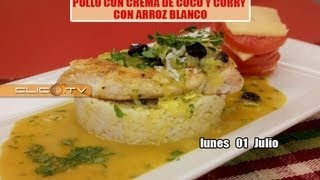 POLLO CON CREMA DE COCO Y CURRY CON ARROZ BLANCO