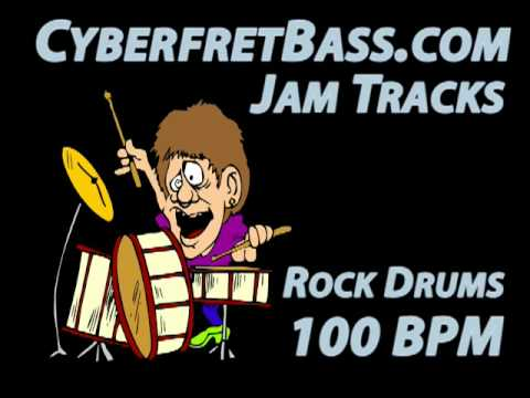 Rock Drums Jam Track - 100 BPM - CyberfretBass.com