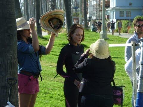 "Helen Hunt And Luke Wilson Filming The New Movie ""Ride"" In Marina Del Rey , Venice Beach."