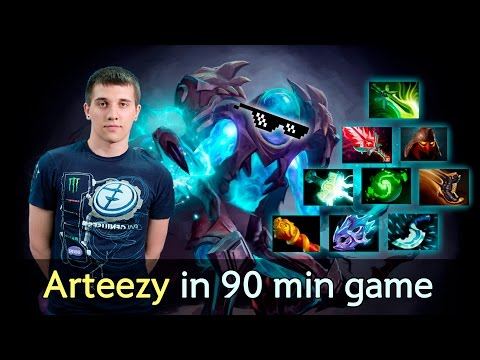 Arteezy 9-slotted Arc Warden in 90 min game — solo MMR Dota 2
