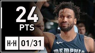 Wayne Selden Full Highlights Grizzlies vs Pacers (2018.01.31) - 24 Points   2017-18 NBA Season