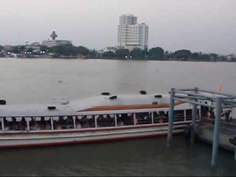 Commuting by Express Boat in the Chaopraya River, Bangkok